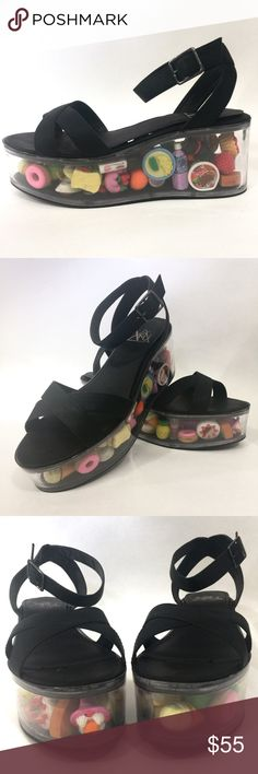 YRU kawaii Japanese eraser sandals These sandals are super cute and like new! Black faux leather crisscross the toes, and the ankle strap buckles. The footbed has velcro where you can remove or add anything you like to the lucite platform. The shoes are currently filled with numerous adorable little Japanese erasers. Marked a size 9, but they run a little big and could easily fit up to a 9.5. Tags: kawaii, dollskill, dolls kill, pastel grunge, sushi, food YRU Shoes Platforms
