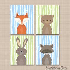 Woodland Nursery Wall Art,Woodland Nursery Decor,Animals Nursery Wall Art,Forest Animals Wall Art,Bear Fox Deer Wall Art- by SweetBloomsDecor