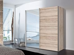 Stars sliding wardrobe (Light Sanremo Oak & Mirror) -