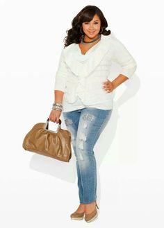 98c242d2aadea Ashley Stewart Cute Plus Size Outfit Jeans Shirt Blouse Love it