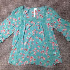 Floral print sheer long sleeve top Sheer material. Size small. Loose fit. Lauren Conrad brand. Quarter length sleeve. Lauren Conrad Tops Blouses