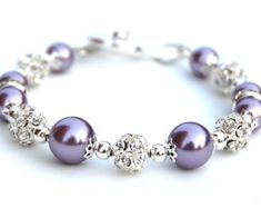 Purple and Lavender Pearl Rhinestone Bracelet Bridesmaid