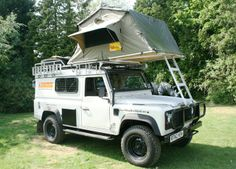 A fully overland prepared Land Rover Defender ready for travel. Including Foley Side Lockers, expedition Roof rack and tent!. www.foleysv.com