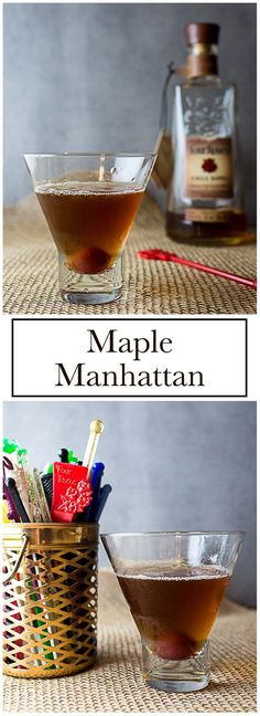 Maple syrup gives a fall twist to a classic bourbon cocktail in this Maple Manhattan. A classic Manhattan gets a fall twist some maple syrup in this Maple Manhattan. Easy Drink Recipes, Best Cocktail Recipes, Punch Recipes, Appetizer Recipes, Manhattan Recipe, Manhattan Cocktail, Bourbon Cocktails, Fall Cocktails, Fun Drinks