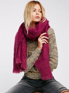 Koda Brushed Scarf   Wrap yourself up in this super soft and fuzzy brushed scarf featuring a raw fringe trim.