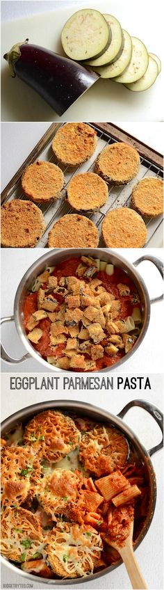 Adding pasta to traditional Eggplant Parmesan helps keeps costs low while maintaining all the original flavor. Step by step photos. Baked Pasta Recipes, Healthy Pasta Recipes, Veggie Recipes, Vegetarian Recipes, Dinner Recipes, Dinner Ideas, Veggie Meals, Healthy Foods, Parmesan Pasta