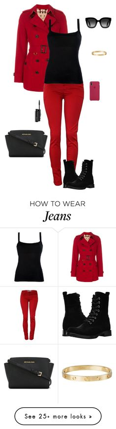 """Red Jeans"" by gone-girl on Polyvore featuring Burberry, MICHAEL Michael Kors, Gucci, MAC Cosmetics, Cartier, Frye and Valentino"