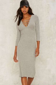 Lace-Up to No Good Ribbed Dress - Dresses