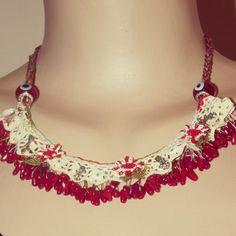 Firkete işi kolye/Handmade necklace natural stone and needlework