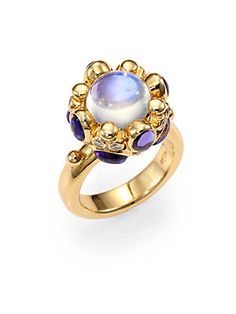 Temple St. Clair Blue Moonstone, Tanzanite, Diamond & 18K Yellow Gold Cabochon Cluster Ring