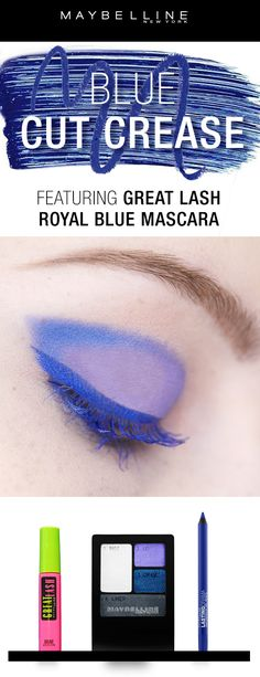 Discover the best royal blue mascara for full, thick eyelashes with a pop of color. Our washable, volumizing mascara doubles lashes & flatters all eye colors. Gorgeous Makeup, Love Makeup, Makeup Inspo, Makeup Inspiration, Makeup Looks, Makeup Sets, Makeup Stuff, Cut Crease Eyeshadow, Glitter Eyeshadow