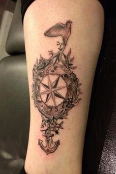 shoulder/back compass and anchor tattoos for girls - Google Search
