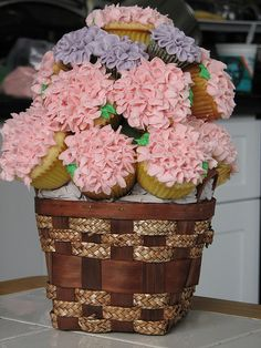Cupcake Bouquet in Basket by sugarcrushmiami, via Flickr