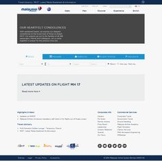 Frontpage of Malaysia Airlines desktop website a few days after the loss of its MH17 passenger plane, apparently shot down over the Ukraine conflict zone.