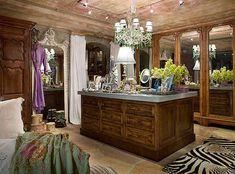 Master closet of Suzanne Somers.  via theposhspace.com  #interiors, #furniture, #celebrities, #somers, #closets