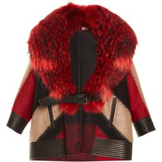J. Mendel Abstract Plaid Wool Coat With Finn Raccoon Collar ($12,500) ❤ liked on Polyvore featuring outerwear, coats, jackets, coats & jackets, fur, red, red tartan coat, red coat, red wool coat and j. mendel