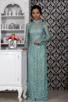 Beautiful sea-green wedding ao dai from Ceci Ao Dai in Australia! Gorgeous!