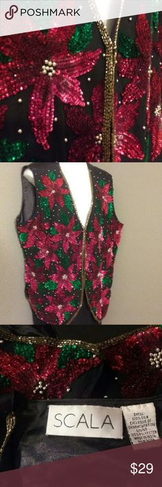 "EUC Scala holiday Christmas red green vest XL silk 100% silk, waaaaay prettier in person, not a bead missing as far as I can tell and I inspected closel. Pit to pit 24"", shoulder to bottom front tip 26"", hook and eye front closure. Plain back, fully lined. Scala Jackets & Coats Vests"