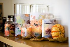 muslin photo candle covers (I'm thinking actual photos, not 'fall' stuff #diy #home