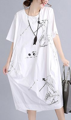 13dab5a56f9a9 Top quality white cotton dress plus size traveling dress vintage o neck  prints natural cotton dress. Daytime Dresses ...
