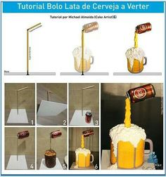 Such amazing cakes Gravity defying cake tutorial Beer Can Cakes, Beer Mug Cake, Beer Cakes Diy, Anti Gravity Cake, Gravity Defying Cake, Cake In A Can, How To Make Cake, Cake Decorating Techniques, Cake Decorating Tutorials
