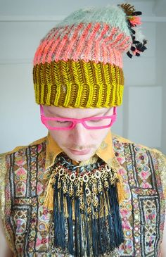 Amazing colors in the styling...want the shirt, glasses and beanie | Stephen West | Westknits.
