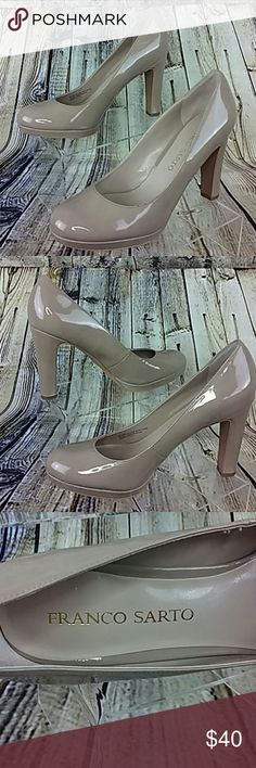 Franco Sarto High Heels Platform Nude Franco Sarto Platform Patent Leather Nude Medium Width 4 Inch Heel Gently Used  Thank you for taking a closer look at this item. Please feel free to check out my closet. Franco Sarto Shoes Heels