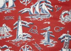 Nautical Toile Fabric Sailboat Lighthouse Red Home by NsewFabrics, $14.99