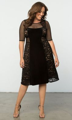 Our most loved plus size Mixed Lace Cocktail Dress is a modern twist on the classic party dress. Available in size 0X-5X Shop www.curvaliciousclothes.com