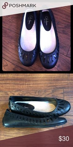 Cole Haan flats with Nike air tech Black Cole Haan flats, leather with patent lacing around edges, never worn, no box, too big for me. Cole Haan Shoes Flats & Loafers