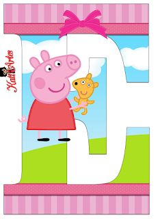 Alphabet Peppa Pig in the Field with Puppy. - Oh my Alfabetos! Pippa Pig, Bolo Da Peppa Pig, Scrapbook Images, 3rd Birthday Parties, Pig Birthday, Pig Party, Craft Party, Vintage Children, Party Themes