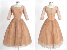 1950's Vintage Montaldo's Early Edward Abbott Brown Chantilly Lace Evening Dress with Illusion Bow Design, Designer, Couture,1950s 50s 1940s