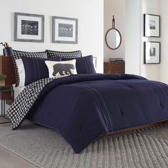 This Eddie Bauer Kingston Navy Comforter Set is a contemporary match for your room decor. Made from cotton, the comforter is cozy and warm, lending you the much required comfort after a long, busy day. Pair the comforter with the included sham/s Comforter Sets, Duvet Sets, King Duvet Cover, King Comforter Sets, Navy Comforter, Duvet Covers Twin, Bedding Sets, Navy Duvet, Twin Comforter Sets