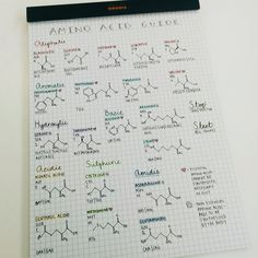 """"""" studiiology: """" made an amino acid cheat sheet to refer to during protein translation readings. my project is half biochemistry so this biochem hater needs her coping mechanisms """" Wow amazing """" chemistry determined Chemistry Lessons, Science Chemistry, Organic Chemistry, Forensic Science, Life Science, Chemistry Classroom, College Notes, School Notes, Law School"""