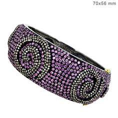 925 Silver Pink Sapphire Bracelet Diamond Bangle 14K Gold WONDERING Fine Jewelry #Handmade