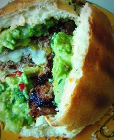 Chile Verde & Cheese Stuffed Grilled Burgers HispanicKitchen.com