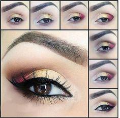 Makeup yeux blanc jaune rose