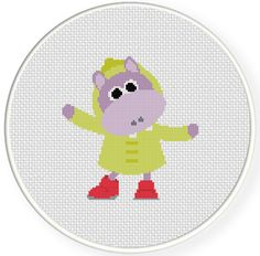 FREE for March 4 2015 Only - Rainy Day Hippo Cross Stitch Pattern