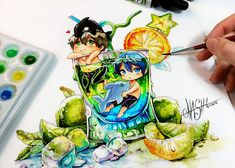 Artist draws cute illustrations and geeks in chibi version, Amazing Drawings, Beautiful Drawings, Cute Drawings, Illustration Mignonne, Cute Illustration, Pikachu, Pokemon, Copic Drawings, Otaku