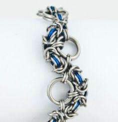 35f0f9d77698 Blue Snake Byzantine chainmaille bracelet by fullcirclechains
