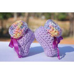 Rainbow Cuff Purple Baby Booties Handmade Crochet Purple Booties ($20) ❤ liked on Polyvore featuring imaginethatbaby