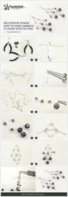 Free Jewelry Making- How to Make Earrings at Home with Eye Pins from pandahall.com