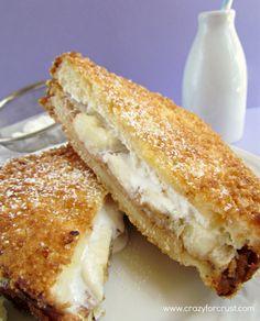 Deep-Fried Fluffernutter Sandwich- wow, sounds so good! PB, banana, and marshmallow cream