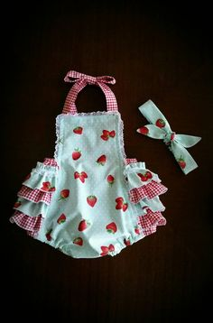 Infant Sunsuit Baby Romper Ruffle Butt by TippyToesandTangles