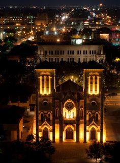 The San Fernando Cathedral in San Antonio, lit up at night. San Antonio City, San Antonio Missions, San Antonio Riverwalk, Downtown San Antonio, San Fernando Cathedral, Places Ive Been, Places To Go, River Walk, Summer Nights