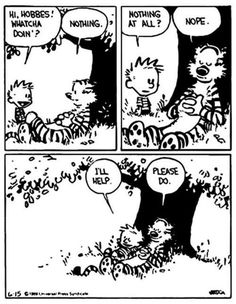 """Quoting wikipedia, """"Calvin and Hobbes is a daily American comic strip created by cartoonist Bill Watterson that was syndicated from November Calvin And Hobbes Comics, Best Calvin And Hobbes, Calvin And Hobbes Quotes, Calvin And Hobbes Tattoo, Calvin And Hobbes Wallpaper, Cute Comics, Funny Comics, Dc Comics, Marvel Girls"""
