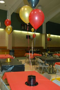 Red carpet theme - father daughter dance - table decorations
