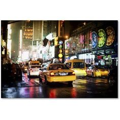 Trademark Fine Art Time Night Nyc Canvas Art by Philippe Hugonnard, Size: 16 x 24, Red