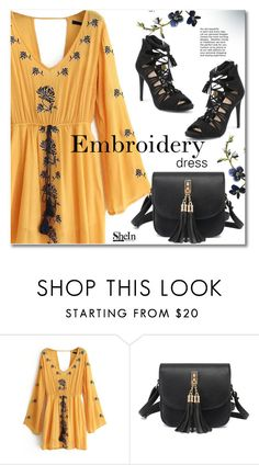 """""""Embroidery dress"""" by svijetlana ❤ liked on Polyvore featuring embroidered, polyvoreeditorial and shein"""