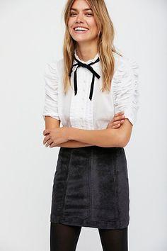 Styling Tips >> frilly blouse w/ a Modern Femme Velvet Mini Skirt / FP